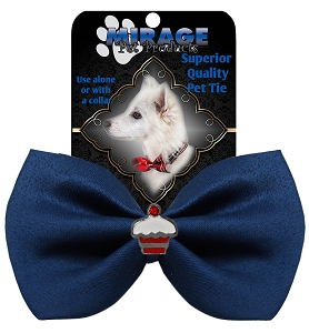 Cupcake Widget Pet Bowtie Navy Blue